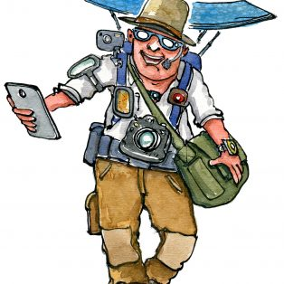 Drawing of a digital hiker